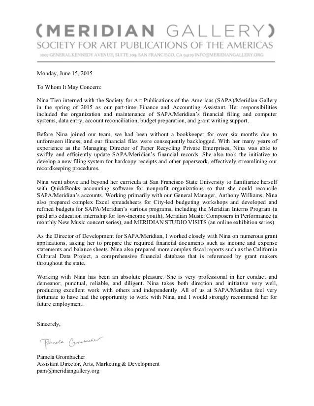 letter of recommendation for artist
