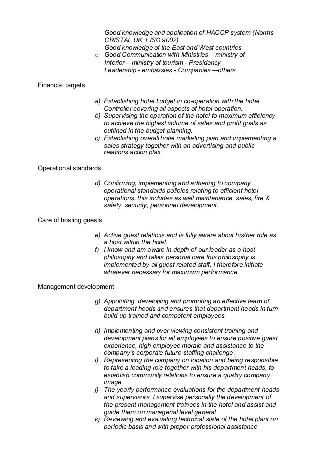 competences hotel management cv