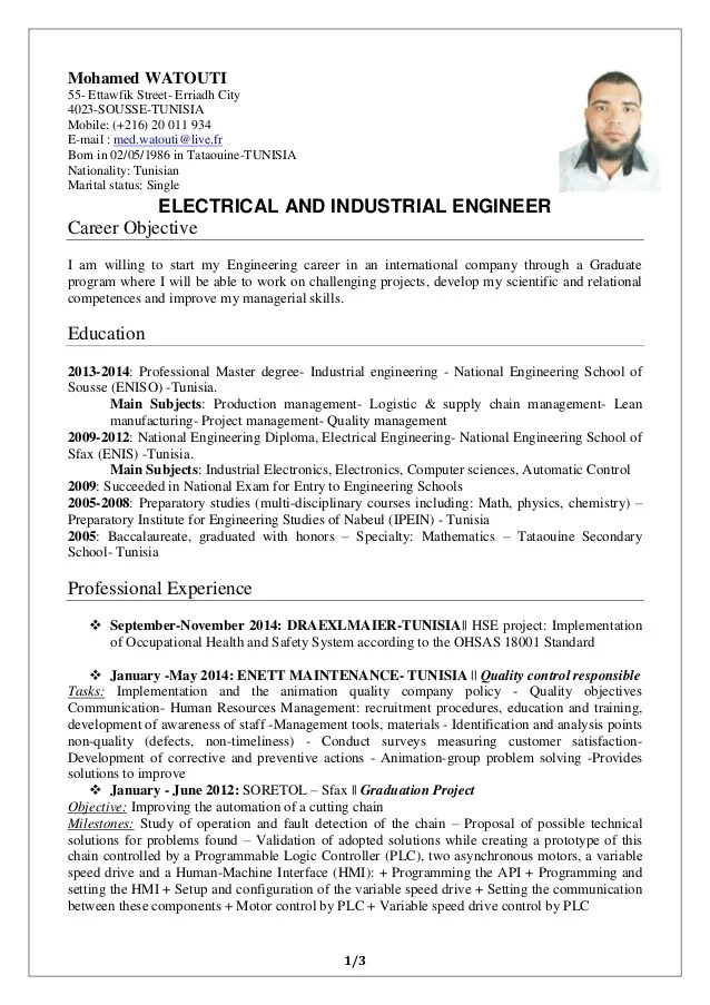 exemple cv anglais engineer