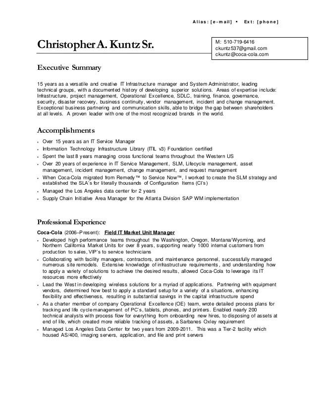 executive summary in resume