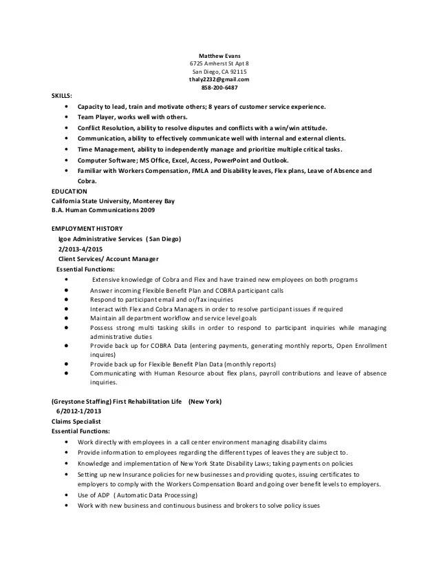 resume for server sample