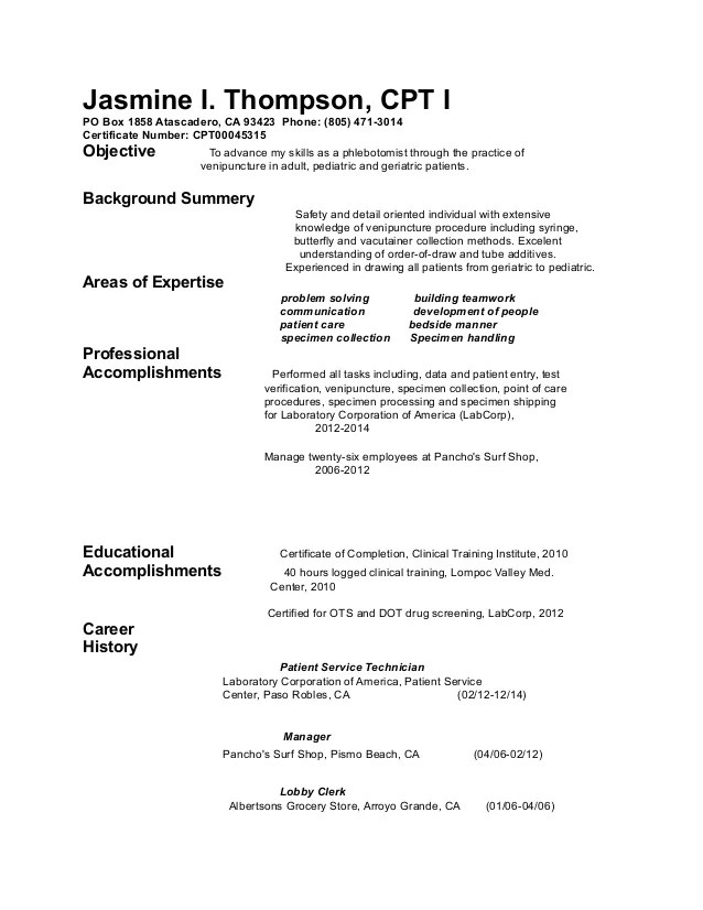 Sample Resume For Phlebotomist | Resume Samples And Resume Help