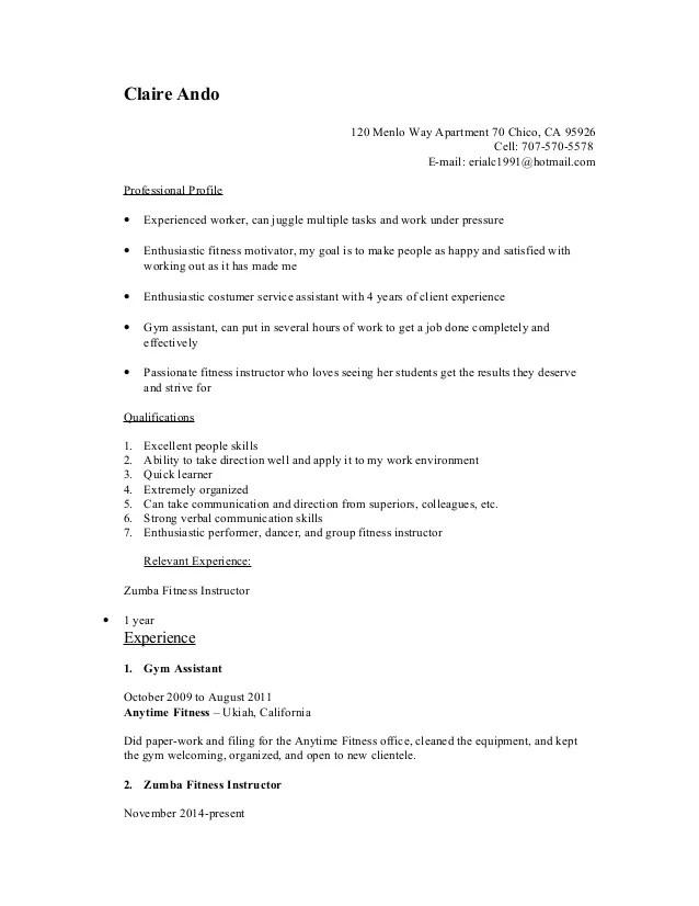 Zumba Instructor Resume - Design Templates