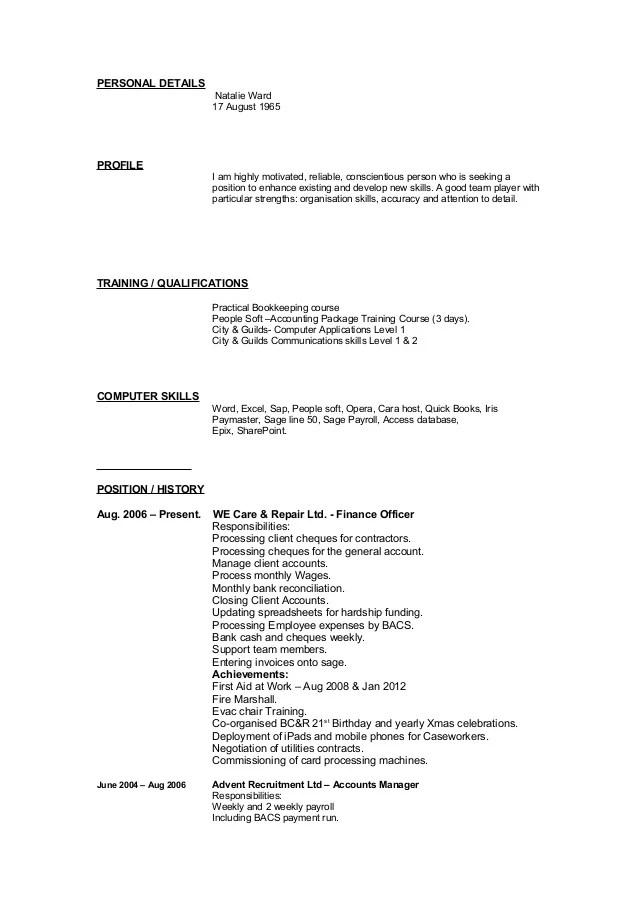 personal details cv anglais