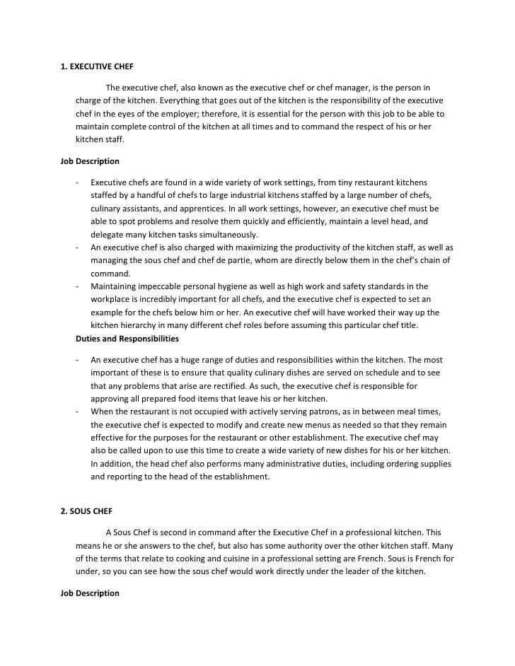 executive chef job description samples - Yenimescale