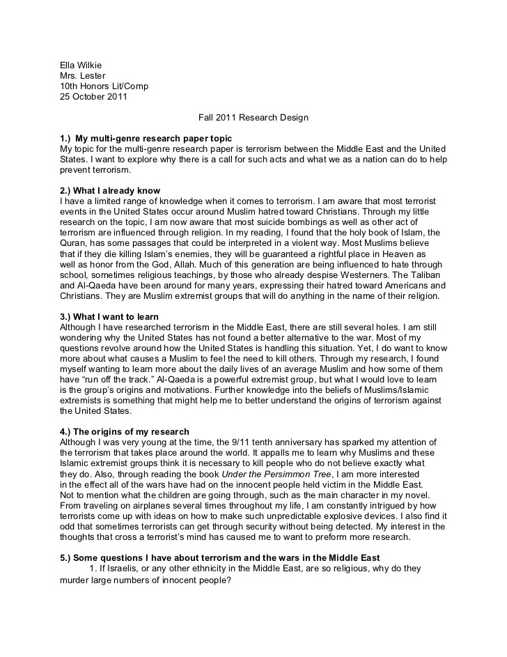 Guidelines On Writing A Research Proposal Fall 2011 Research Design Proposal