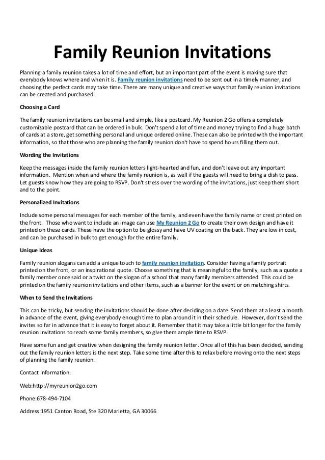 Invitation Letter Sample Reunion – Reunion Invitation Sample