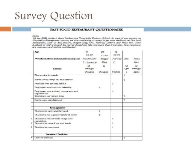 restaurant survey samples - Alannoscrapleftbehind