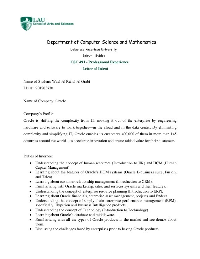 letter of intent internship - Josemulinohouse - internship letter of intent