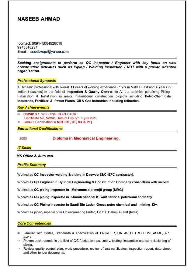 ndt supervisor resume sample