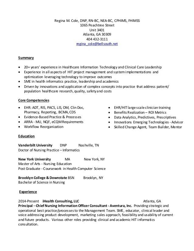 Sample Nursing Informatics Resume Professional Nursing Informatics - informatics nurse sample resume