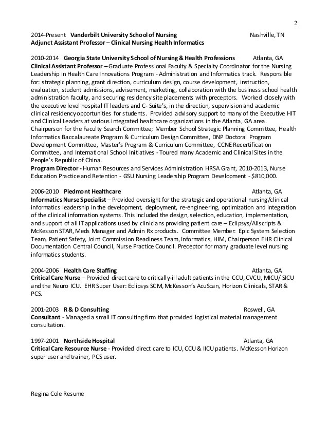 resume for nursing informatics