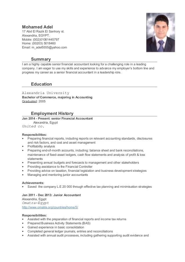 Amazing Resume Creator Senior Financial Accountant Cv
