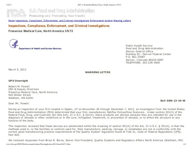 Fda Warning Letter 3 5 2013 To Dialysis Drug Maker And