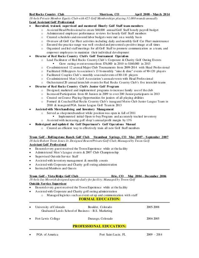golf professional resume - Maggilocustdesign - golf course superintendent resume
