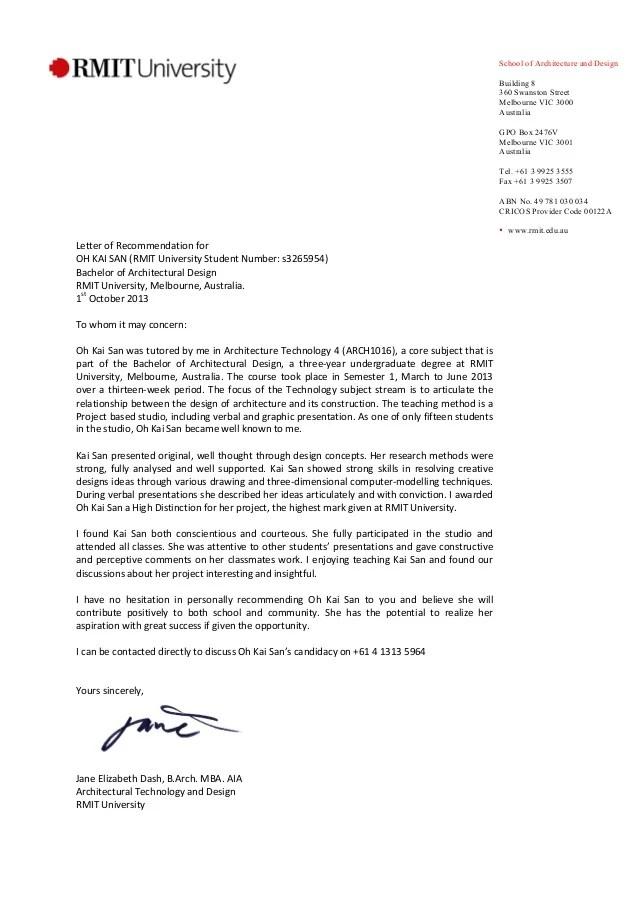 Graduate School Recommendation Letter Rmit Recommendation Letter Jane