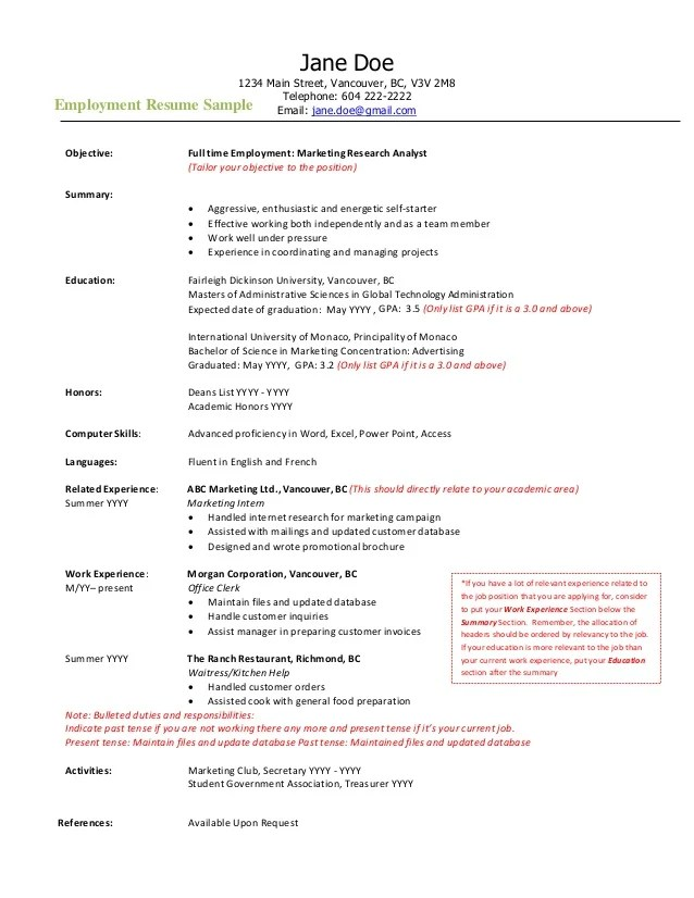 cv for job in vancouver