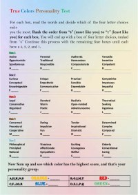 Four Colors Personality Test Printable Pictures to Pin on ...
