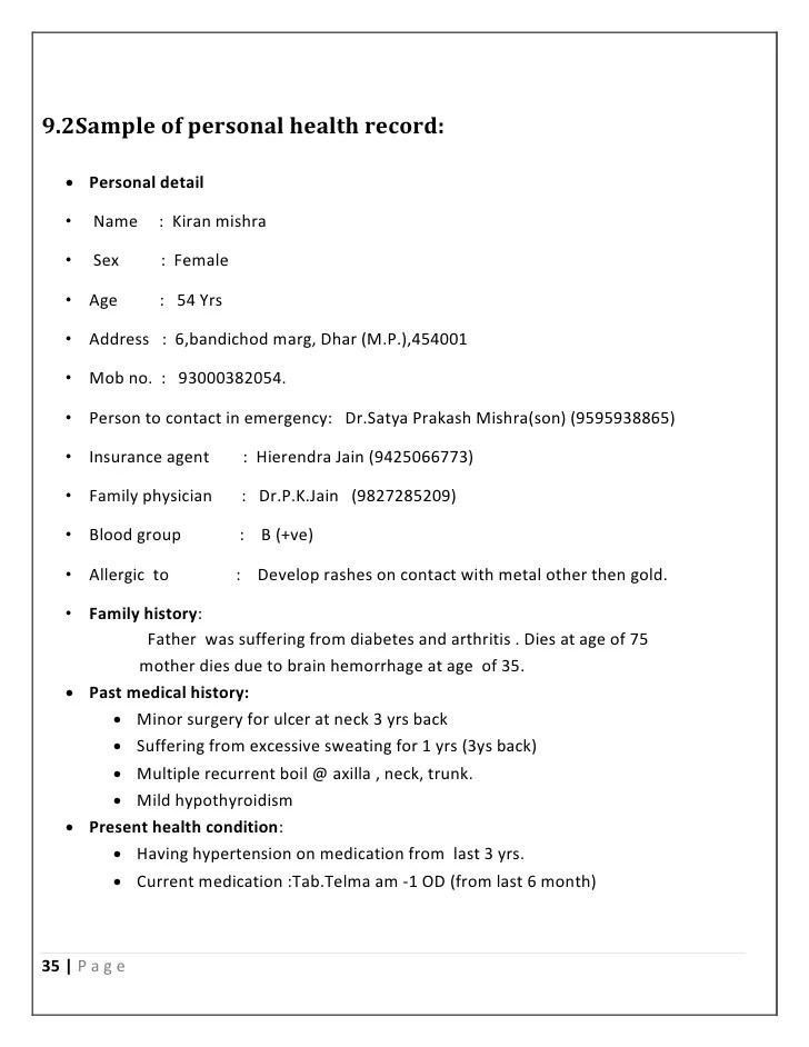 sample health record - Selol-ink - sample health record