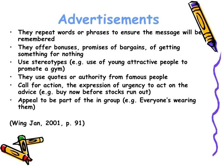 Features Of An Advertisement Power Point