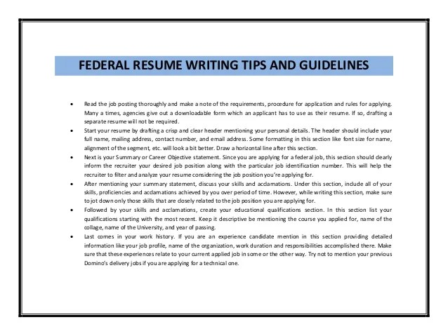 resume writing tips for federal jobs