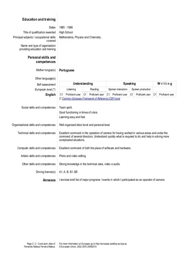 cv competences framework