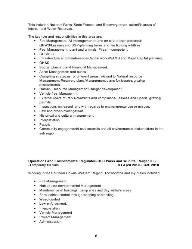 national park ranger resume - Trisamoorddiner