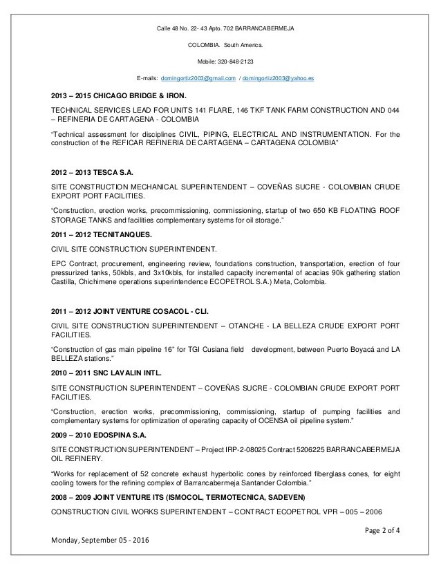 cv in english engineer in textile