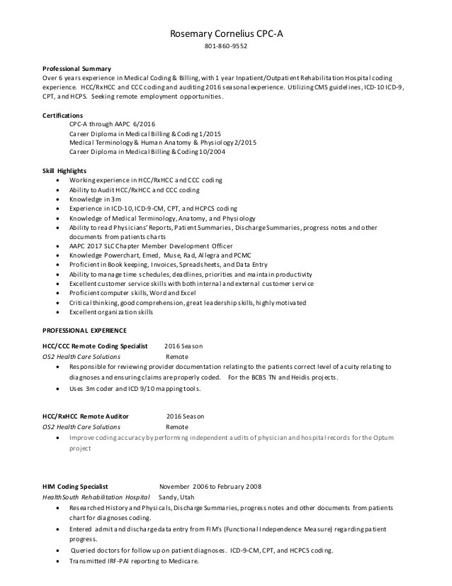 medical coding resume - Josemulinohouse