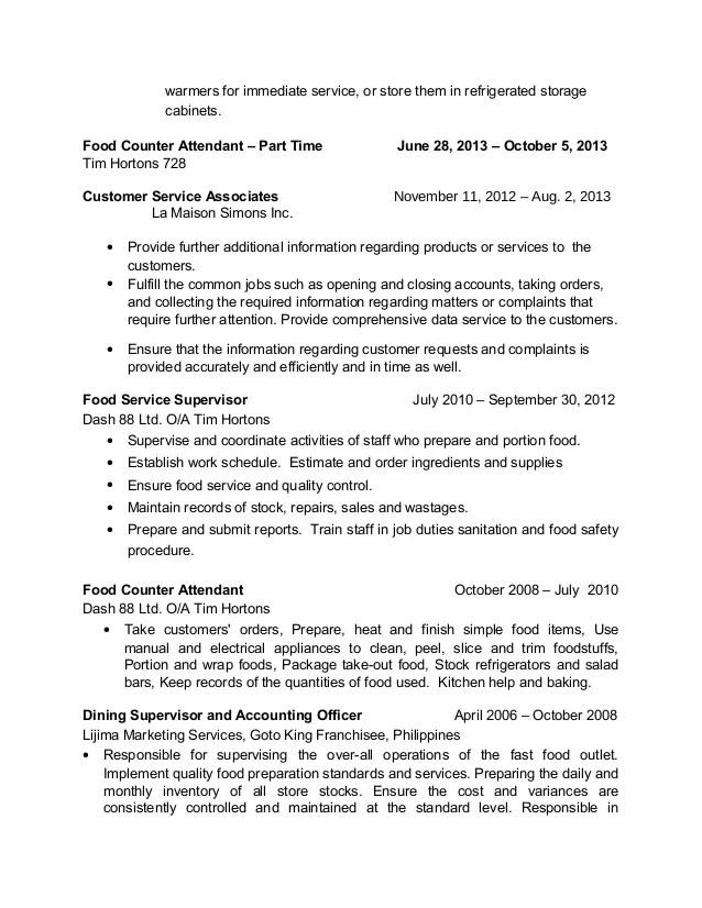 customer service attendant job description