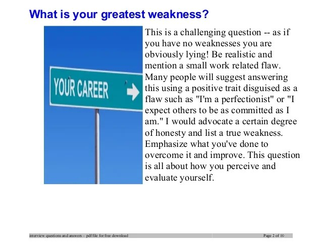 list of strengths and weaknesses for job interview - Josemulinohouse