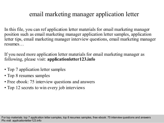 email marketing cover letter - Ukranagdiffusion