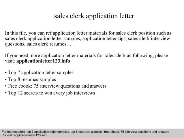 sample sales clerk cover letter - Onwebioinnovate - copyright clerk sample resume