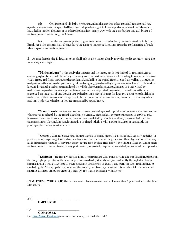 Music Contracts Templates - Eliolera - music agreement contract