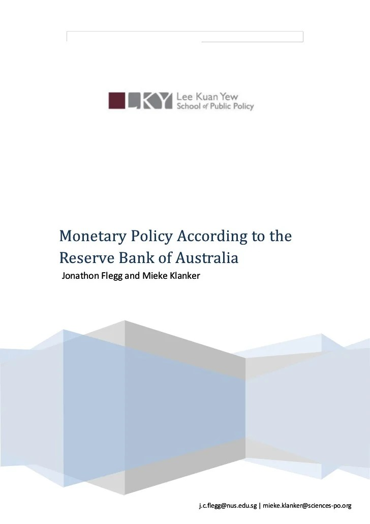 Monetary Policy According to the Reserve Bank of Australia