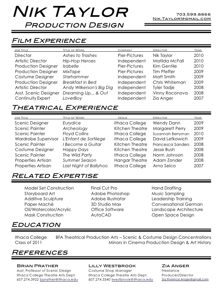 resume film - Minimfagency
