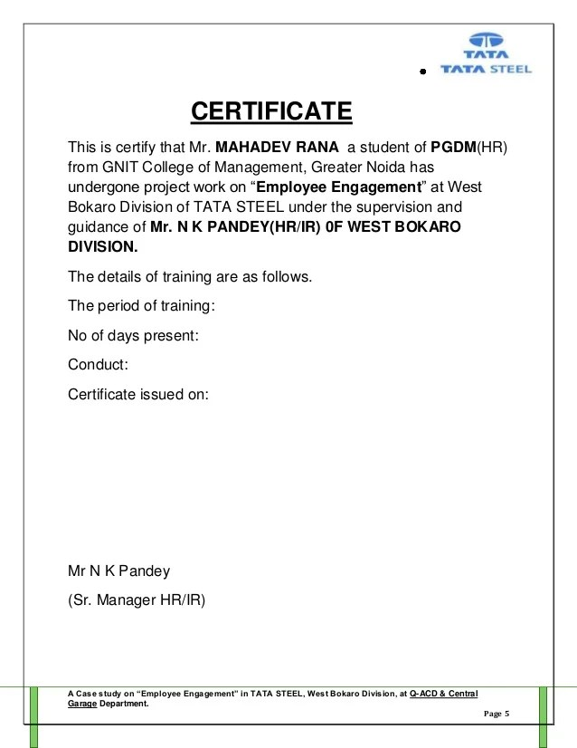 Sample Basic Cover Letter And Resume Eduers Project Report Employee Engagement By Mahadev Rana