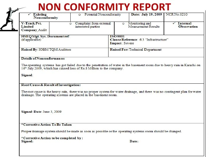 fancy quality non conformance report template model resume