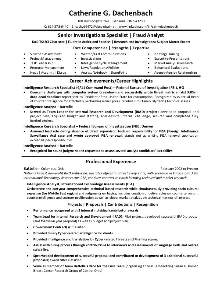 Intelligent Research Specialist Cover Letter Sample