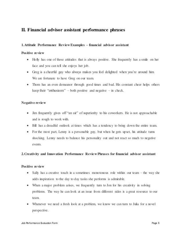 finance advisor job description