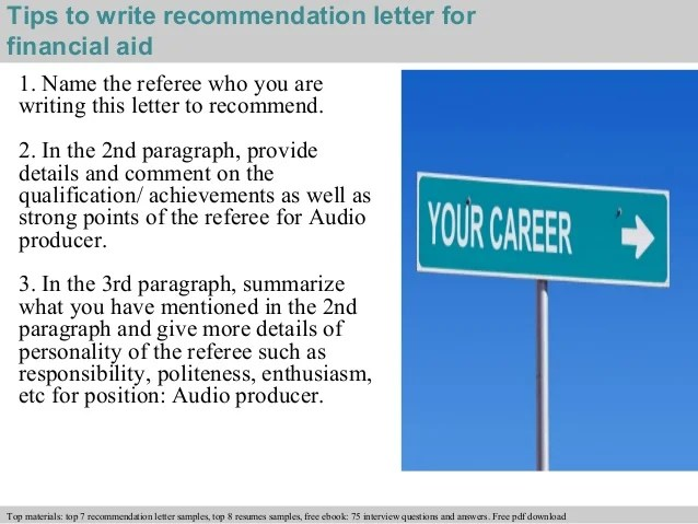 Examples Of Recommendation Letters Lovetoknow Financial Aid Recommendation Letter