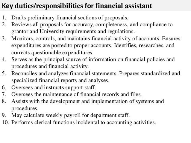 Administrative Assistant Job Description And Duties Financial Assistant Job Description