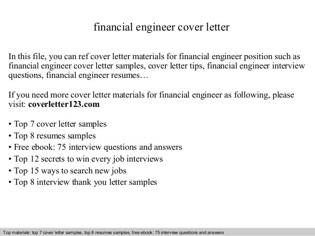Free Professional Resume » engineering cover letter examples - financial engineer sample resume