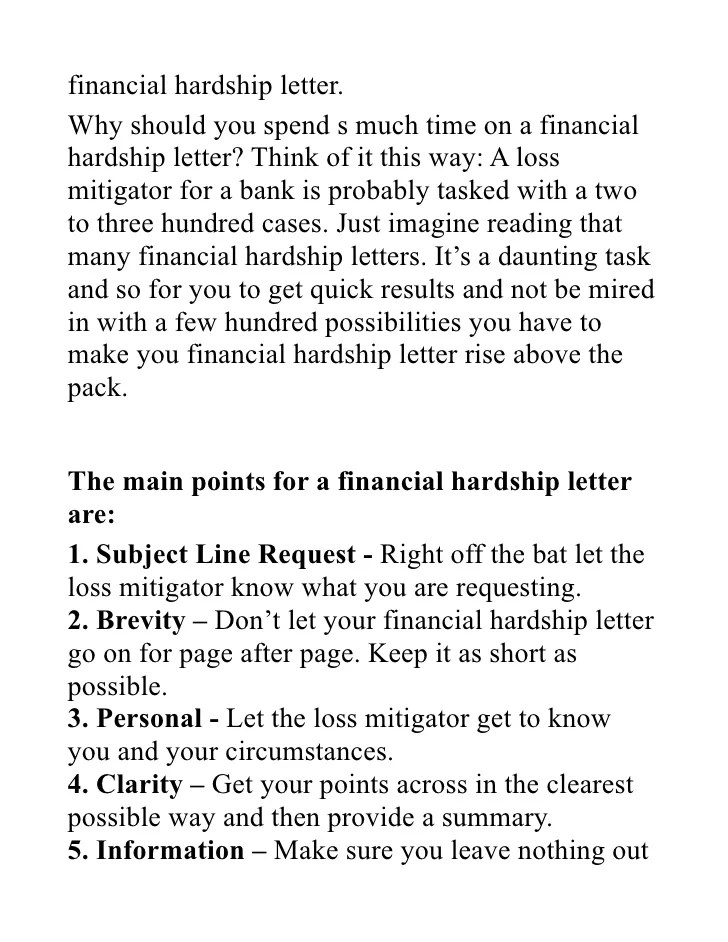 Sample Letter Explaining Financial Hardship  Job Application