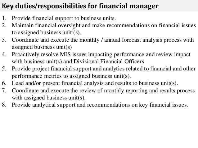 Job Description Sample It Manager It Manager Job Description Samples Tips Monster Financial Manager Job Description
