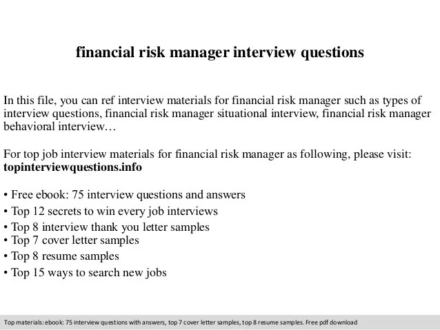 risk management interview questions - Romeolandinez