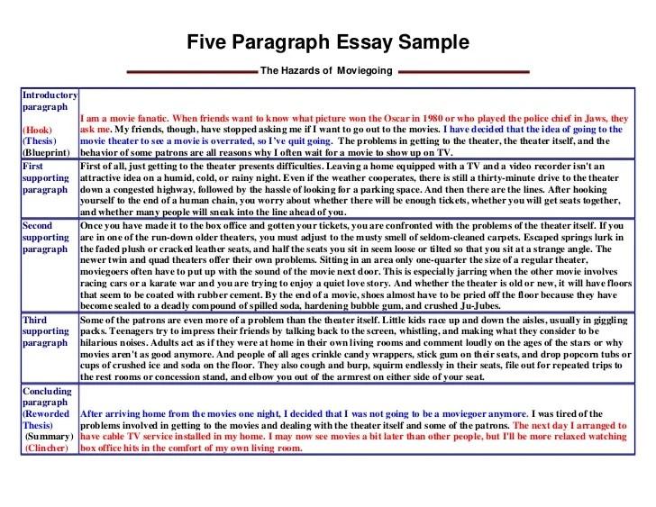 sample 5 paragraph essay