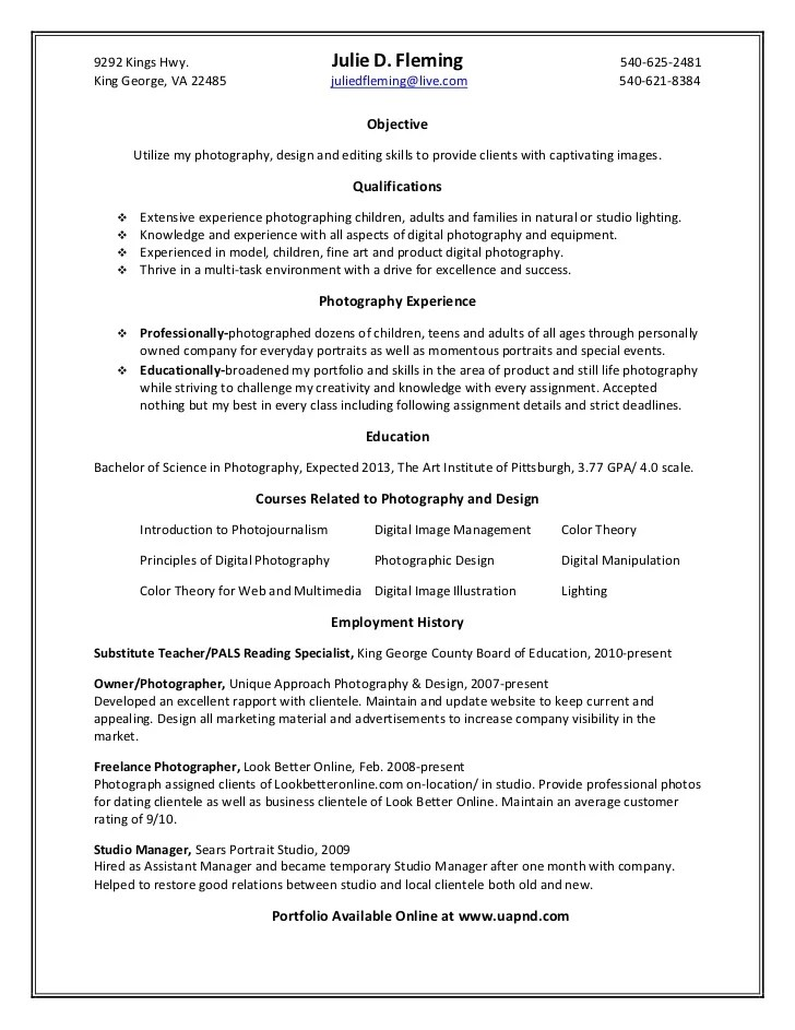 photography objective resume - Narcopenantly