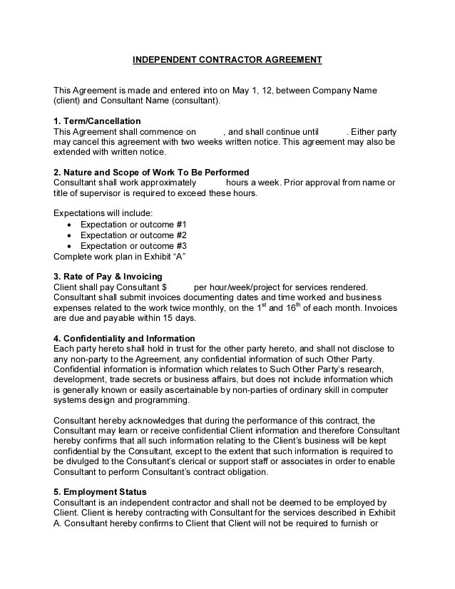 consultant contract template - Acurlunamedia - consulting agreement forms