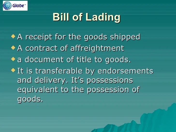 436 Contracts Title To And Endorsement Of A Bill Of Lading Fm